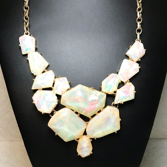 Black Enamel and Iridescent Crystal Bib Necklace